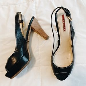 Prada black slingback heels